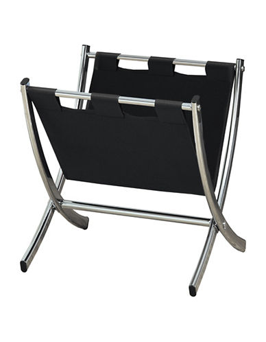 Monarch Black Leather-Look Magazine Rack-BLACK-One Size