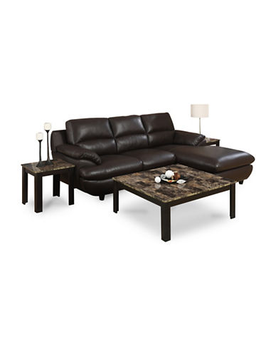 Monarch Three-Piece Marble-Look Square Coffee and End Tables Set-BROWN-One Size