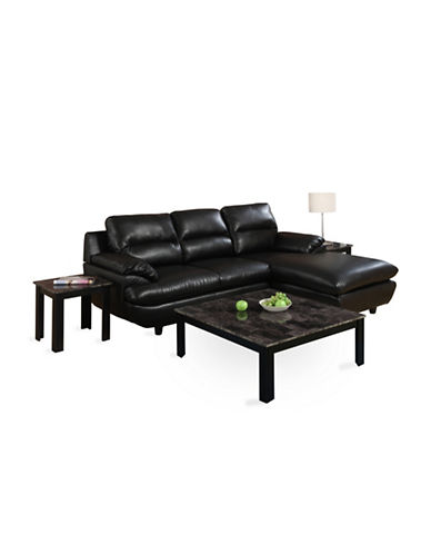Monarch Three-Piece Marble-Look Square Coffee and End Tables Set-BLACK-One Size