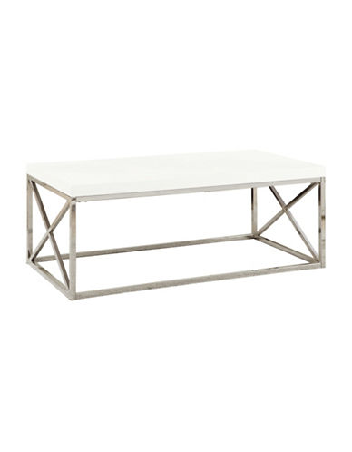 Monarch Crossbar Coffee Table-WHITE-One Size