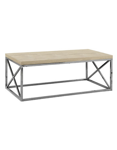 Monarch Criss-Cross Chrome-Look Coffee Table-NATURAL-One Size