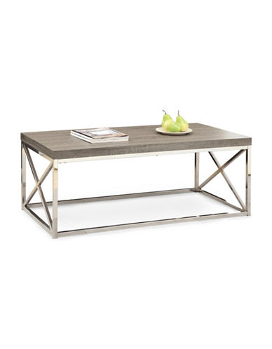 Monarch Criss-Cross Chrome-Look Coffee Table-TAUPE-One Size