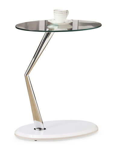 Monarch Glossy Round Accent Table-WHITE-One Size