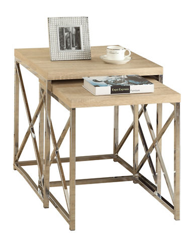 Monarch Criss-Cross Chrome-Look Nesting Tables-NATURAL-One Size