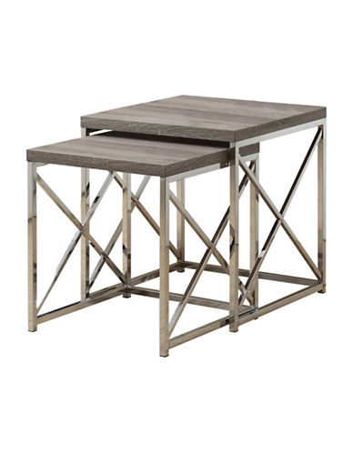 Monarch Criss-Cross Chrome-Look Nesting Tables-TAUPE-One Size