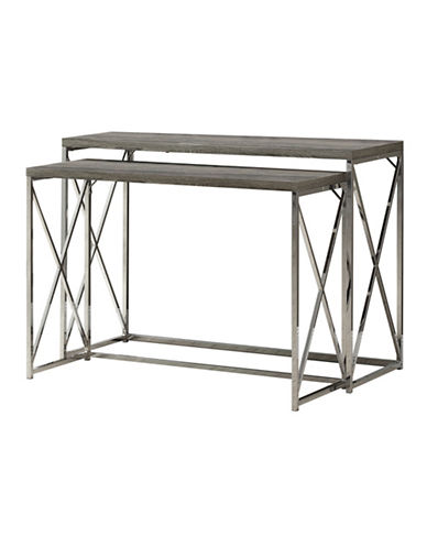 Monarch Set of Two Criss-Cross Console Tables-DARK TAUPE-One Size