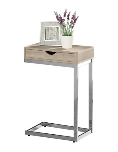 Monarch Chrome-Look Accent Table with Drawer-NATURAL-One Size