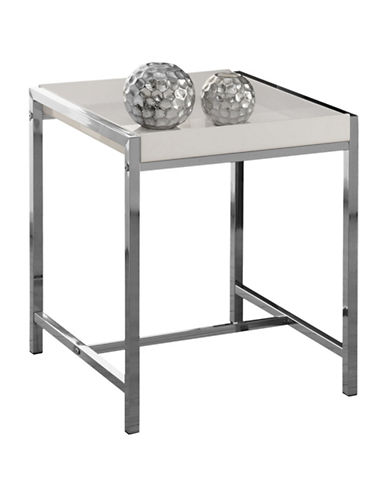 Monarch Acrylic and Chrome Accent Table-WHITE-One Size