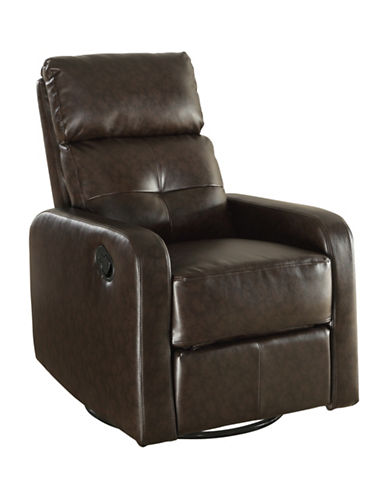 Monarch Bonded Leather Recliner Swivel Glider Chair-BROWN-One Size