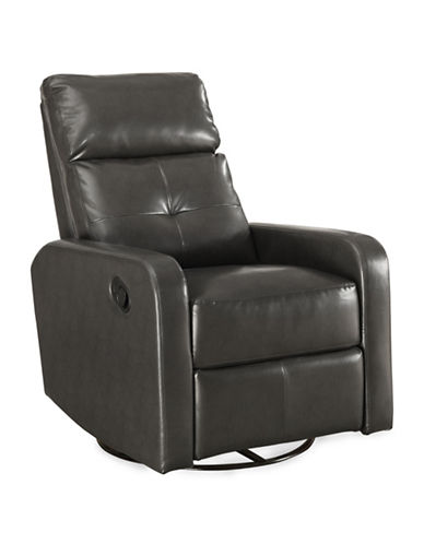 Monarch Bonded Leather Recliner Swivel Glider Chair-GREY-One Size