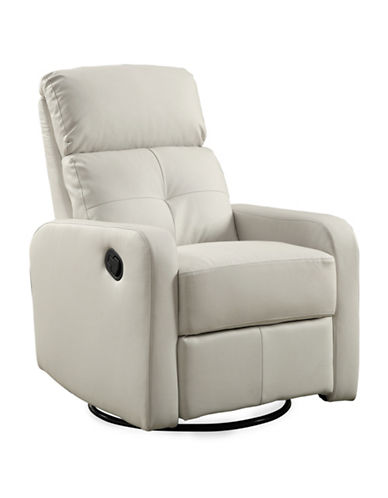 Monarch Bonded Leather Recliner Swivel Glider Chair-WHITE-One Size
