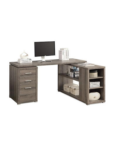 Monarch L-Shaped Desk with Storage-BROWN-One Size