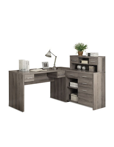 Monarch Left or Right-Facing Desk with Storage Unit-TAUPE-One Size