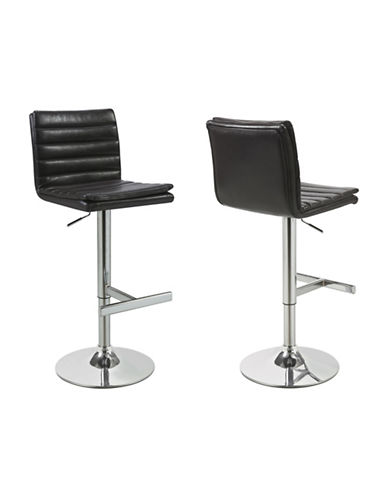 Monarch Set of Two Faux-Leather Hydraulic Barstools-DARK BROWN-One Size