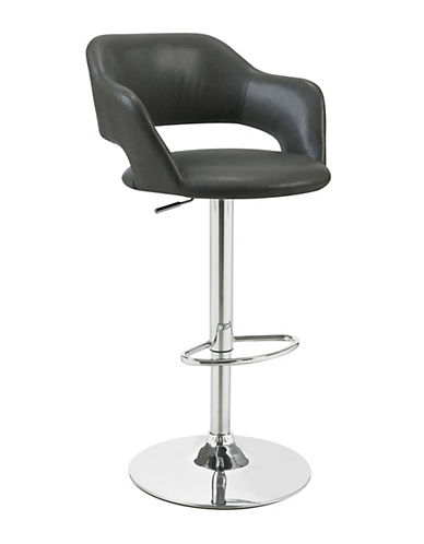 Monarch Curved Faux-Leather Barstool-CHARCOAL GREY-One Size