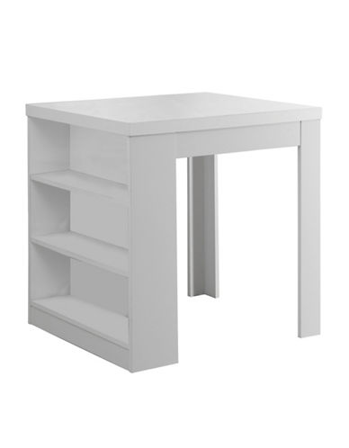 Monarch Counter-Height Shelf Panel Dining Table-WHITE-One Size