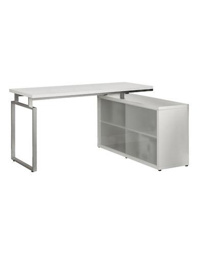 Monarch Corner Computer Desk with Side Storage-WHITE-One Size