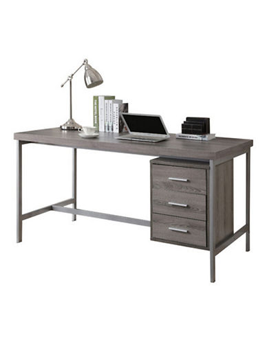 Monarch Three-Drawer Computer Desk-DARK TAUPE-One Size