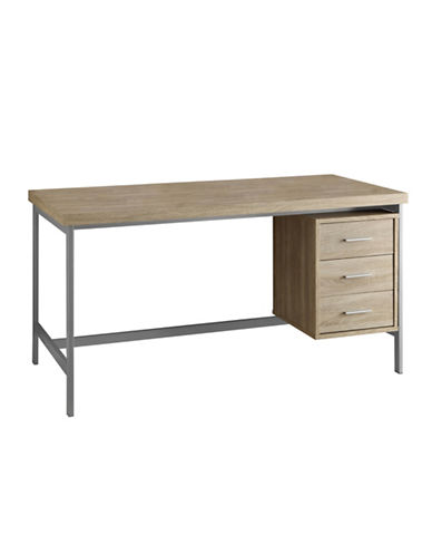 Monarch Computer Desk with Three Drawers-NATURAL-One Size