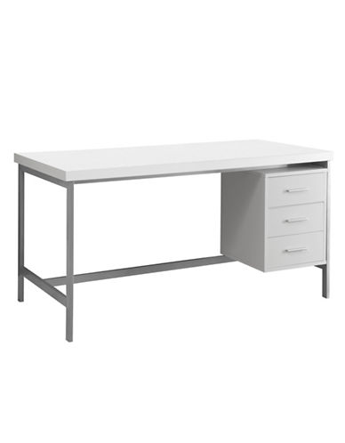 Monarch Metal-Base Computer Desk-WHITE-One Size