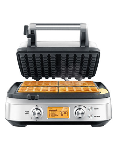 Breville The Smart Waffle 4 slice with no mess moat-STAINLESS STEEL-One Size