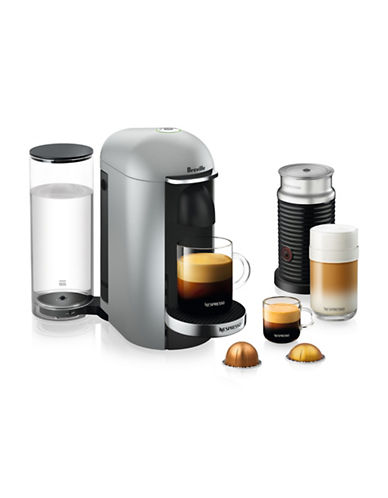 Nespresso VertuoPlus Deluxe Coffee Machine and Milk Frother-SILVER-One Size