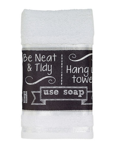 Avanti Chalk It Up Hand Towel-WHITE-Hand Towel