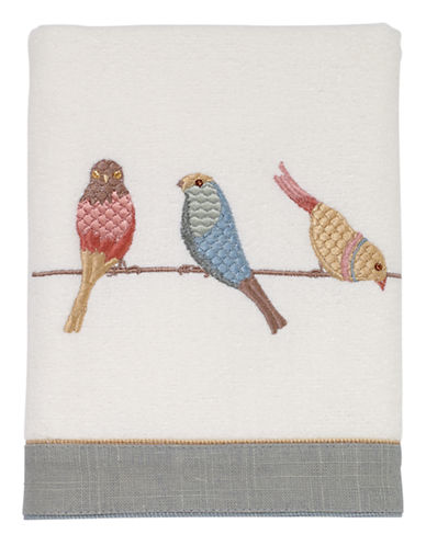 Avanti Bird on Wire Cotton Hand Towel-WHITE-Hand Towel