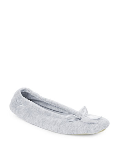 Isotoner Stretch Terry Ballerina Slippers-HEATHER GREY-Large