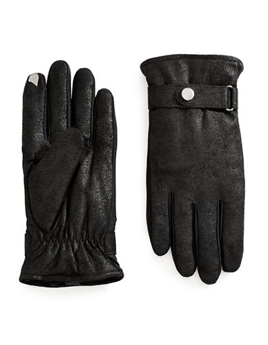 Isotoner Gloves with Strap Buckle Detail-BLACK-X-Large