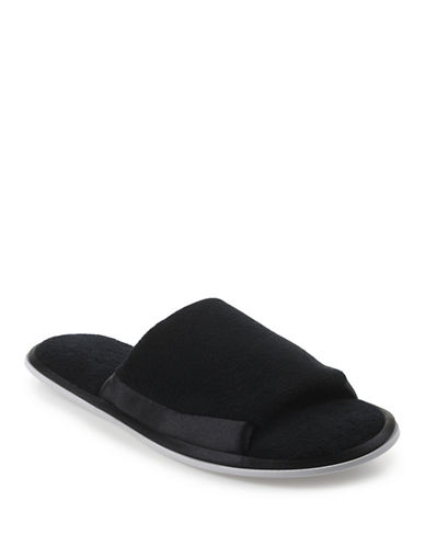 Isotoner Satin Trim Terry Slide-BLACK-Medium
