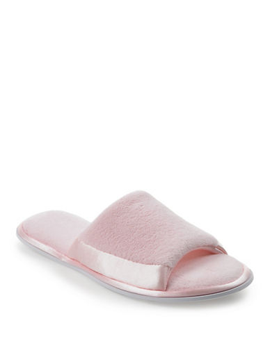 Isotoner Satin Trim Terry Slide-PINK-Medium
