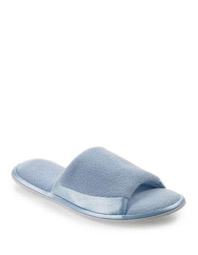 Isotoner Satin Trim Terry Slide-BLUE-Large