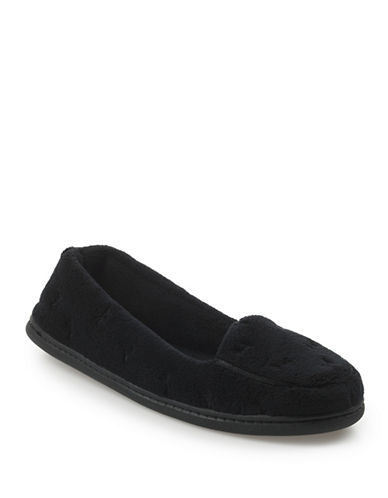 Isotoner Microterry Slipper-BLACK-Large