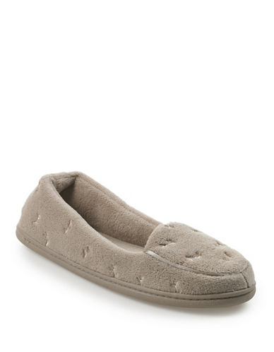 Isotoner Microterry Slipper-TAUPE-Medium