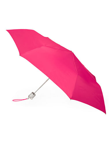 Totes Manual Signature Mini Compact Umbrella-CLARET PINK-One Size