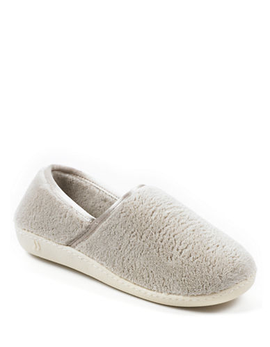 Isotoner Microterry Espadrille with Satin Trim Slippers-SAND-Large