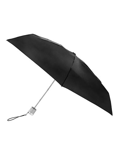 Totes Manual Signature Mini Compact Umbrella-BLACK-One Size