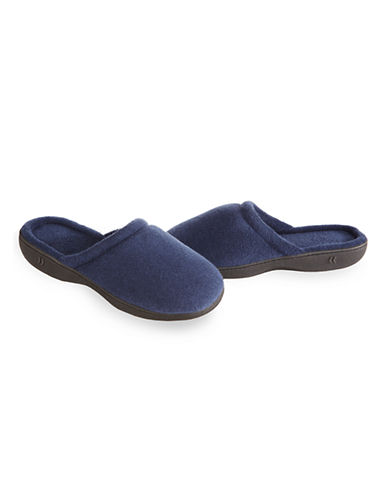 Isotoner Womens Terry ContourStep Clog Slippers-NAVY-Small