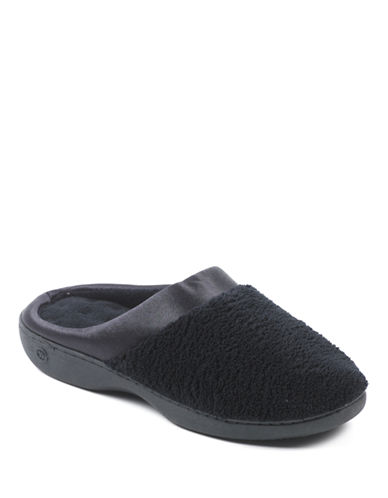Isotoner Microterry Clog with Satin Cuff Slippers-BLACK-Medium