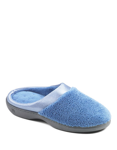 Isotoner Microterry Clog with Satin Cuff Slippers-BLUE-Medium
