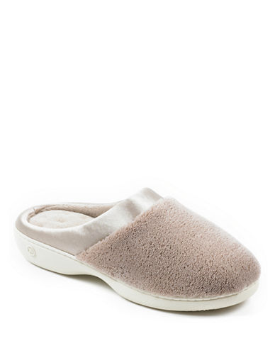Isotoner Microterry Clog with Satin Cuff Slippers-TAUPE-Small