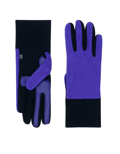 Isotoner Smart Touch Fleece Gloves-BLUE-One Size