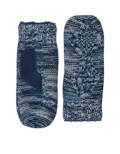 Isotoner Marled Faux Fur-Lined Mittens-NAVY-One Size