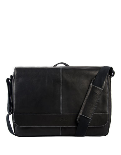 Kenneth Cole Reaction Single Gusset Flapover Messenger-BLACK-One Size