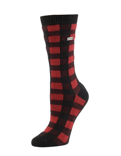 Sorel Buffalo Plaid Socks-BLACK-One Size