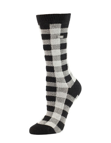 Sorel Buffalo Plaid Socks-WHITE-One Size