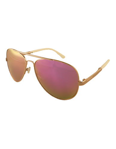 Edit By Jeanne Beker Metal Frame Aviator-GOLD/PINK (MIRRORED)-One Size