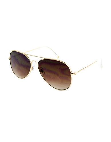 Edit By Jeanne Beker Sunny Goldtone Aviator 55mm Sunglasses-GOLD-One Size
