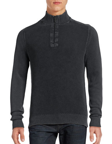 Tommy Bahama Washed Half-Zip Sweater-COAL-Medium